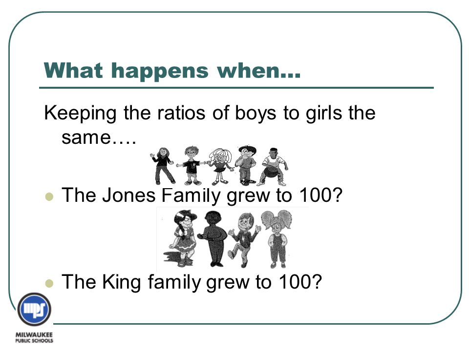 What happens when… Keeping the ratios of boys to girls the same….