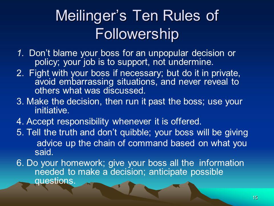 Meilinger's Ten Rules of Followership