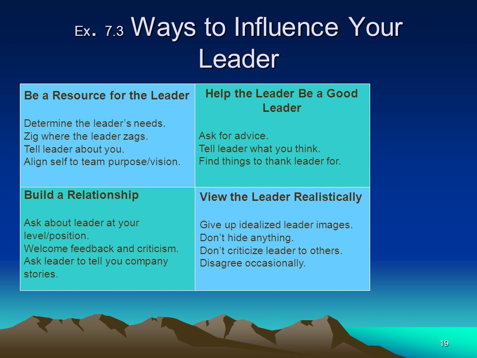 Ex. 7.3 Ways to Influence Your Leader
