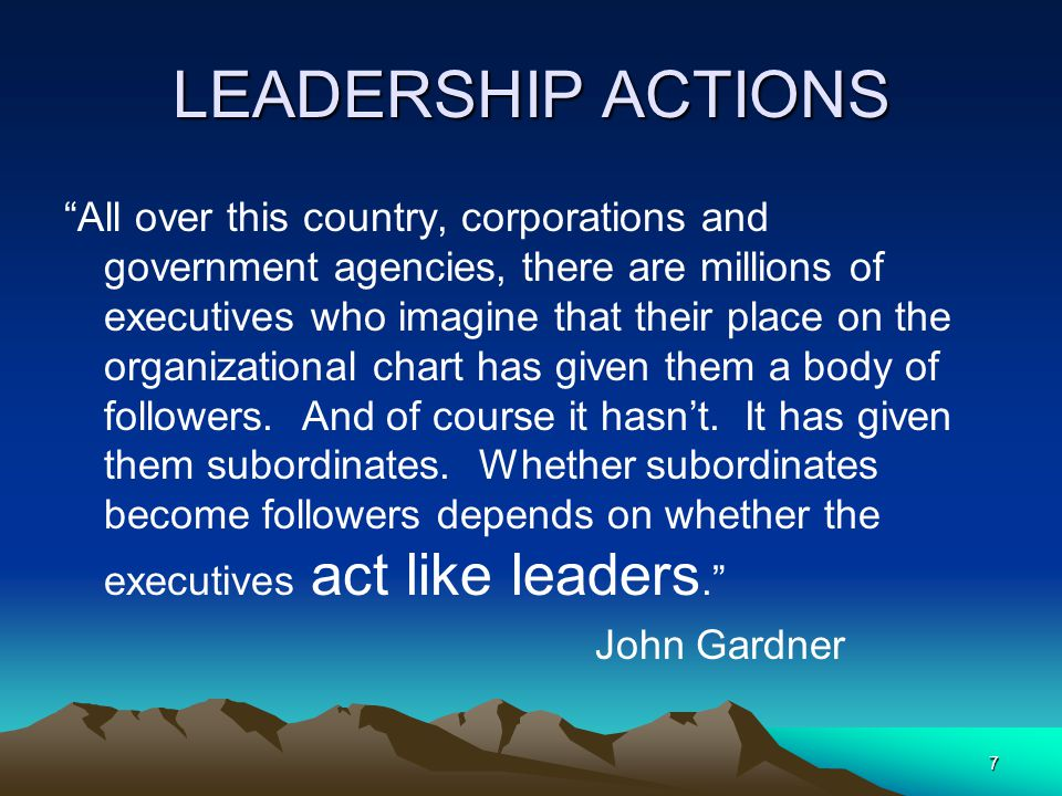 LEADERSHIP ACTIONS