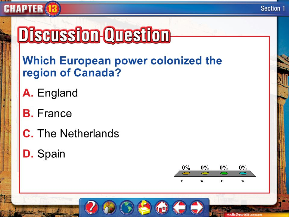 Which European power colonized the region of Canada A. England