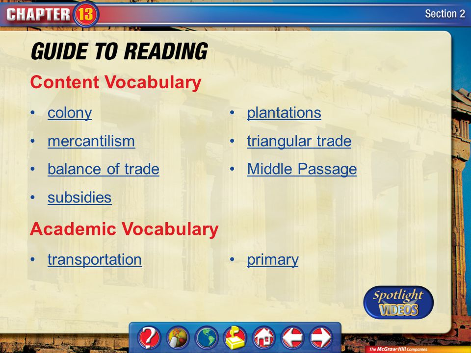 Content Vocabulary Academic Vocabulary colony mercantilism