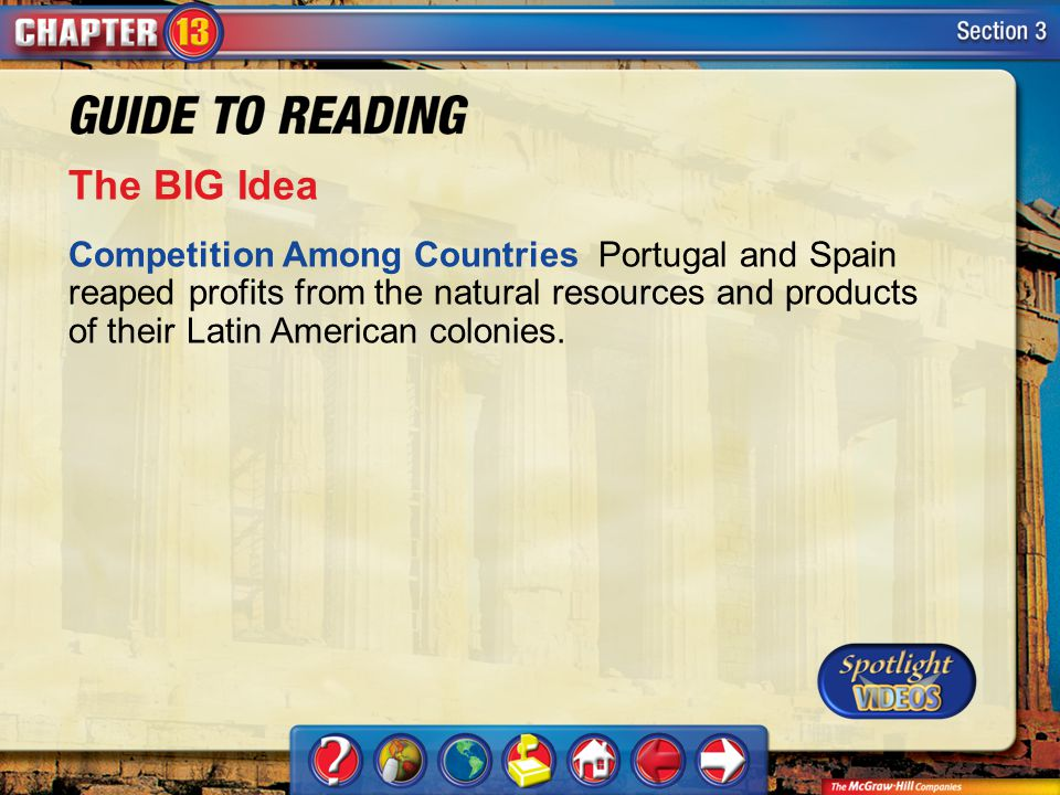 The BIG Idea Competition Among Countries Portugal and Spain reaped profits from the natural resources and products of their Latin American colonies.