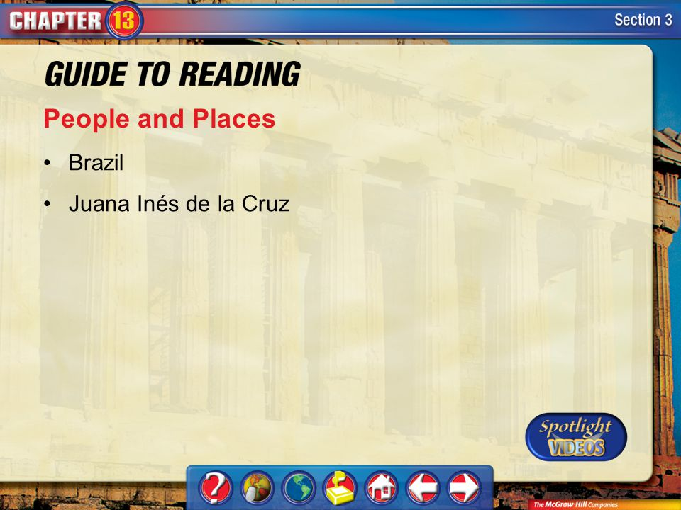 People and Places Brazil Juana Inés de la Cruz Section 3-Key Terms