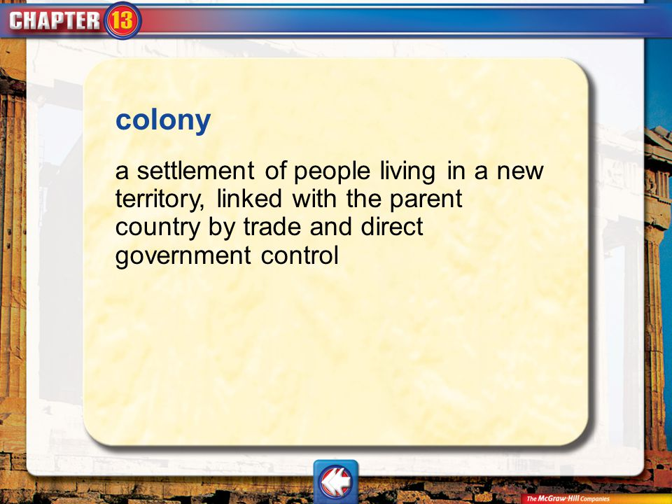 colony a settlement of people living in a new territory, linked with the parent country by trade and direct government control.