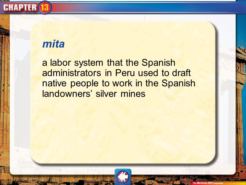 mita a labor system that the Spanish administrators in Peru used to draft native people to work in the Spanish landowners' silver mines.