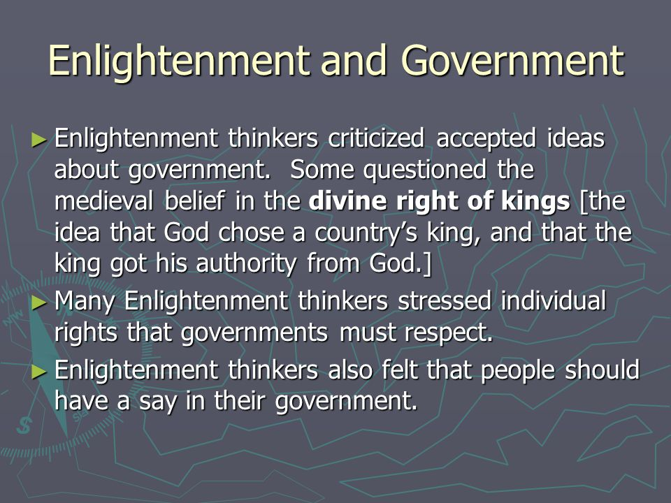 the enlightentment of age of reason sparked The enlightenment was an intellectual movement in 18th century europe the goal of the enlightenment was to establish an authoritative ethics, aesthetics, and knowledge based on an enlightened rationality the movement's leaders viewed themselves as a courageous, elite body of.