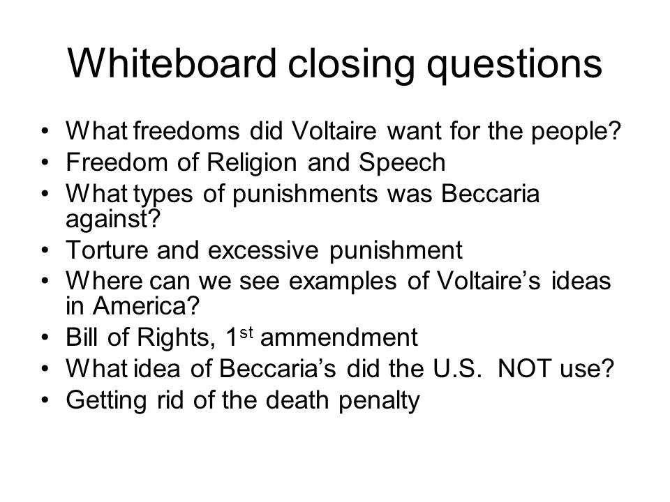 Whiteboard closing questions