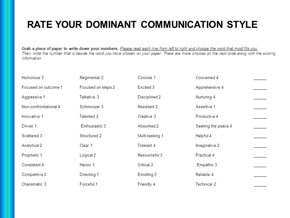RATE YOUR DOMINANT COMMUNICATION STYLE