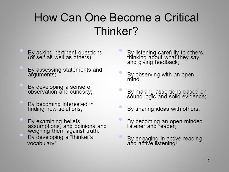 How Can One Become a Critical Thinker