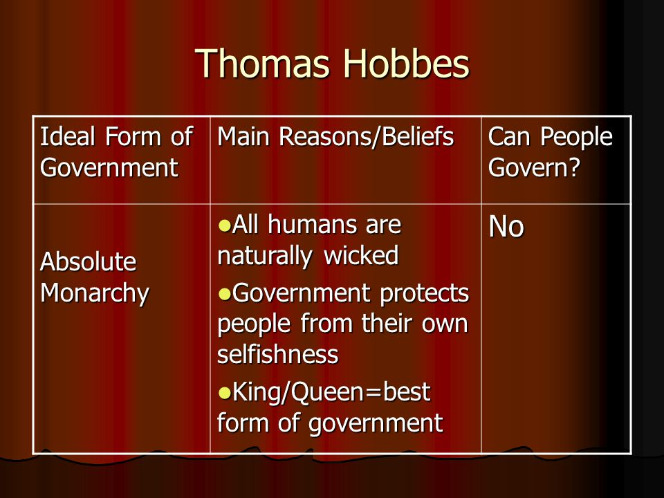 Thomas Hobbes No Ideal Form of Government Main Reasons/Beliefs