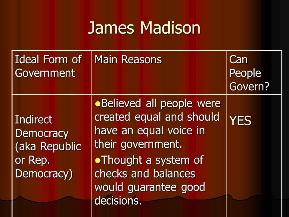James Madison YES Ideal Form of Government Main Reasons