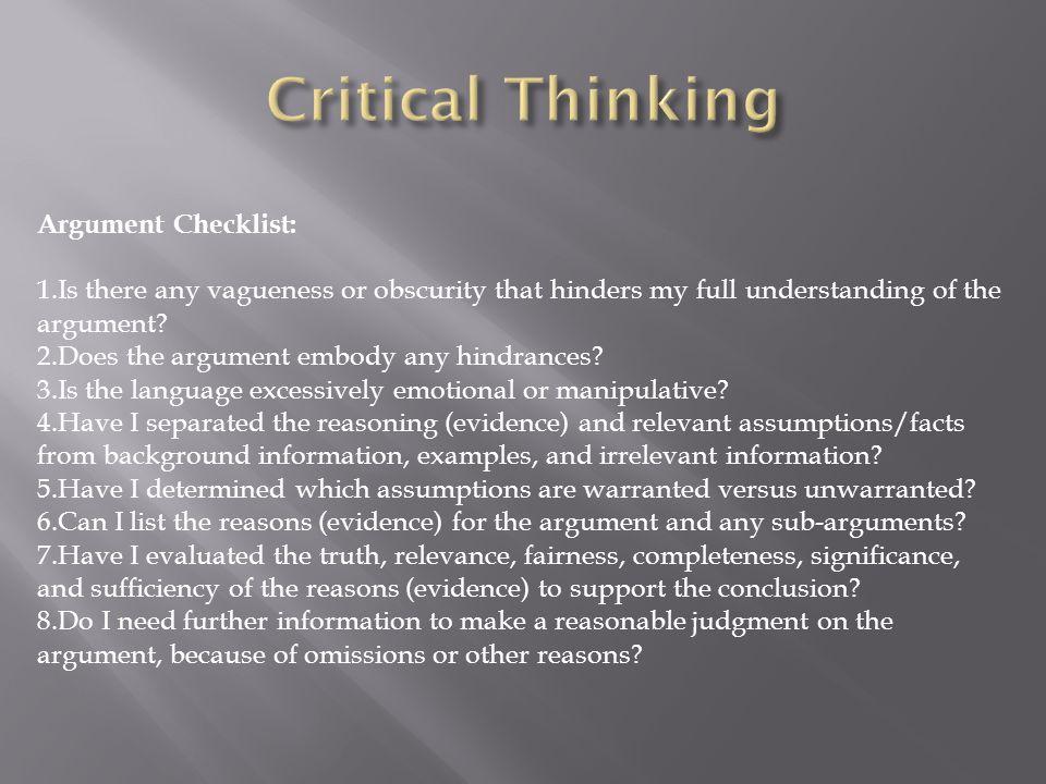 Critical Thinking Argument Checklist: