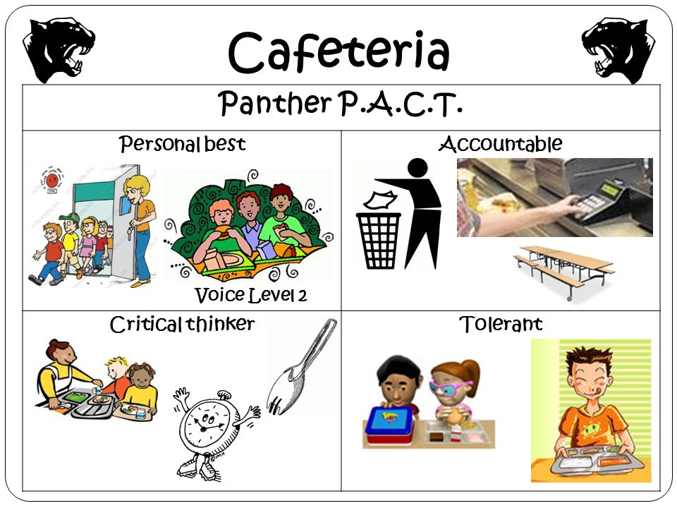 Cafeteria Panther P.A.C.T. Personal best Accountable Critical thinker