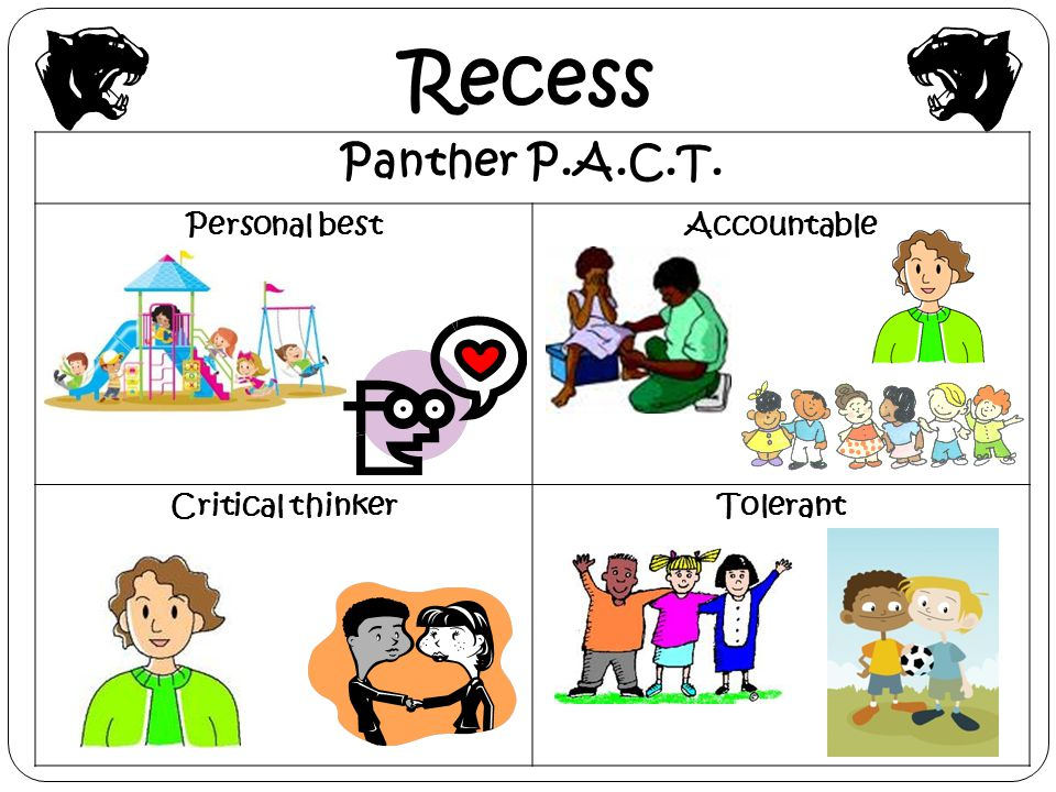Recess Panther P.A.C.T. Personal best Accountable Critical thinker