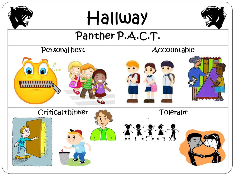 Hallway Panther P.A.C.T. Personal best Accountable Critical thinker