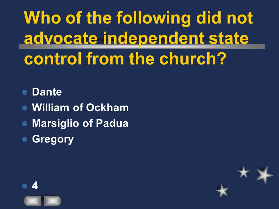 Who of the following did not advocate independent state control from the church
