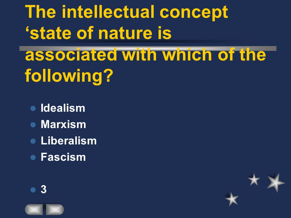The intellectual concept 'state of nature is associated with which of the following