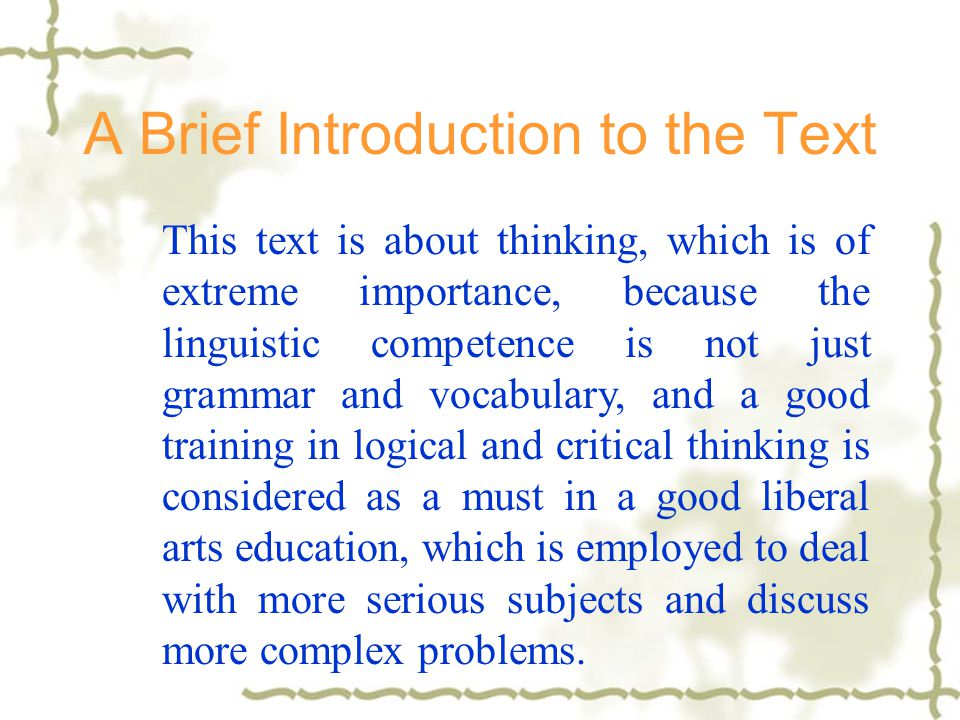 A Brief Introduction to the Text