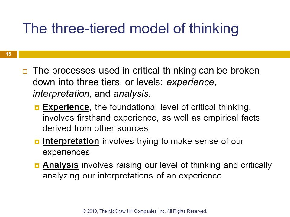 The three-tiered model of thinking