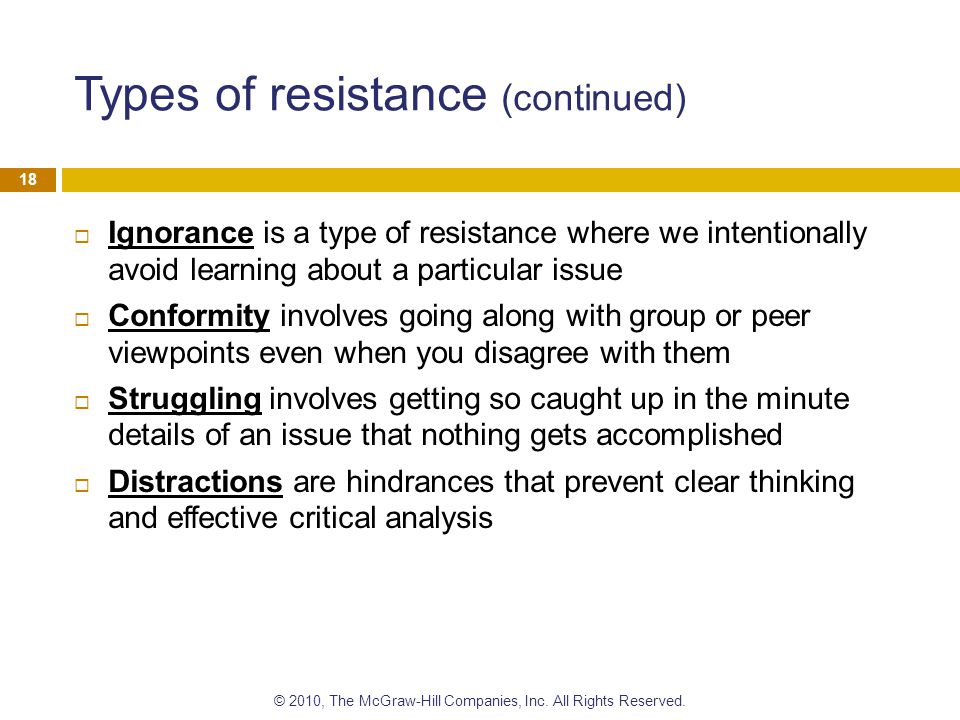 Types of resistance (continued)