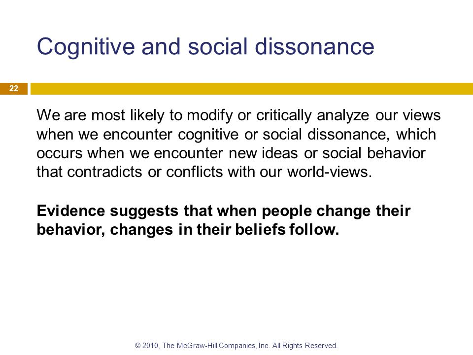 Cognitive and social dissonance