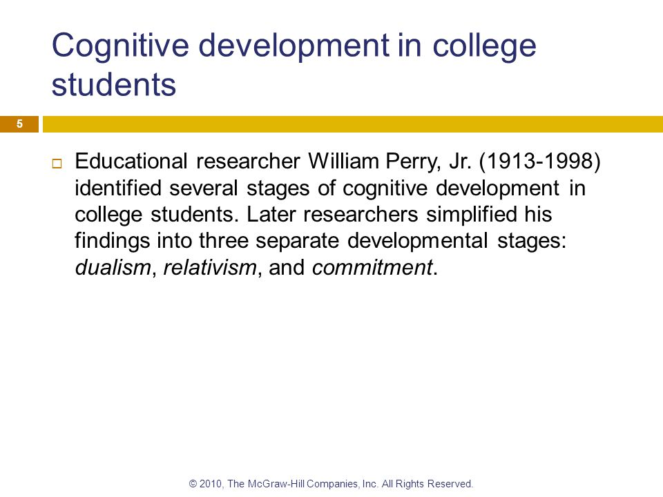 Cognitive development in college students