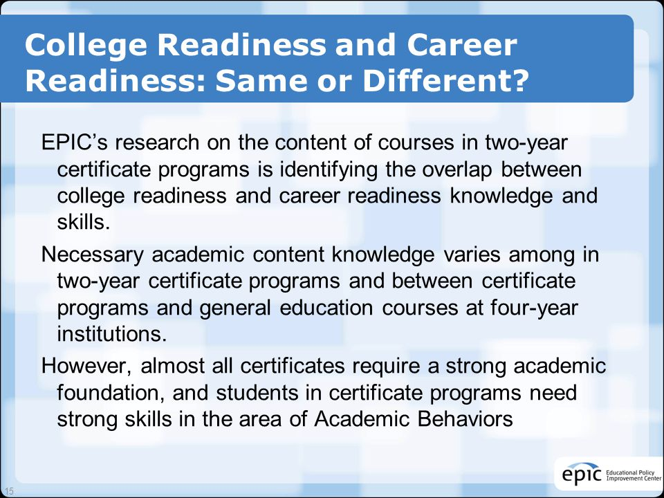 College Readiness and Career Readiness: Same or Different