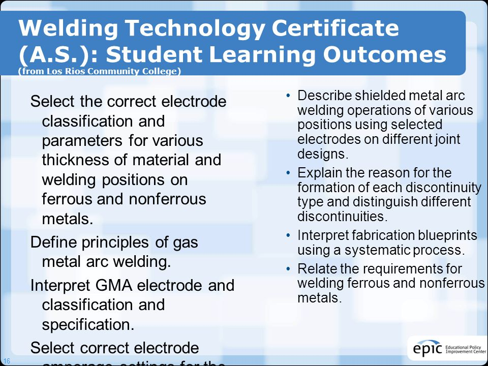 Welding Technology Certificate (A. S