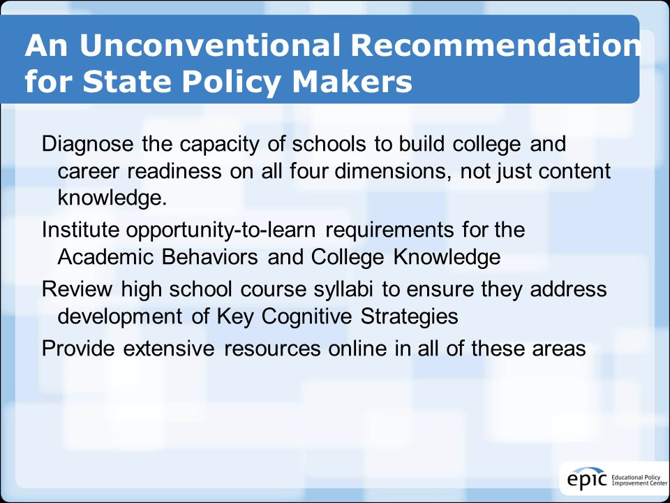 An Unconventional Recommendation for State Policy Makers