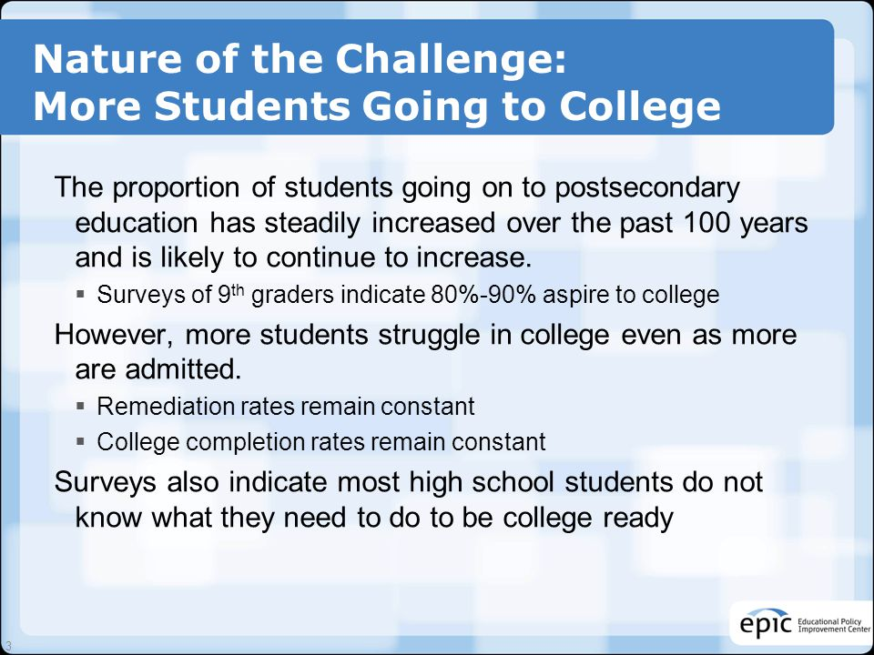 Nature of the Challenge: More Students Going to College