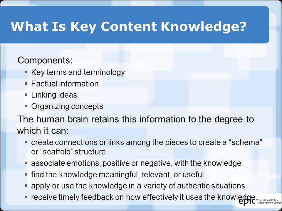 What Is Key Content Knowledge