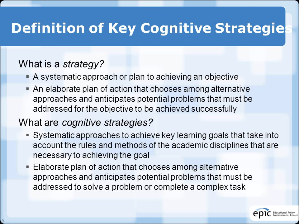 Definition of Key Cognitive Strategies