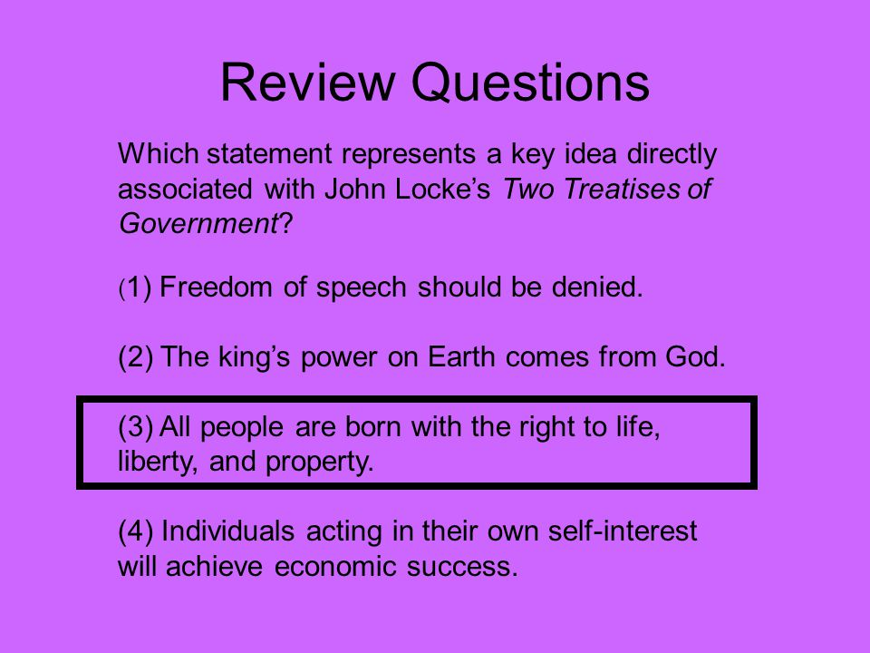 Review Questions Which statement represents a key idea directly