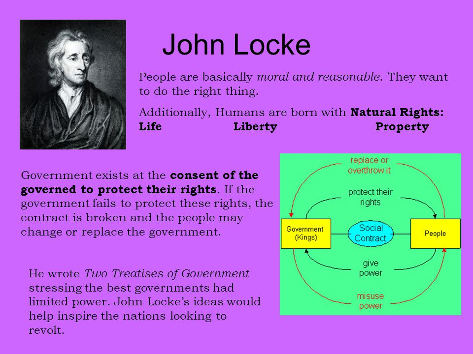 John Locke People are basically moral and reasonable. They want to do the right thing.