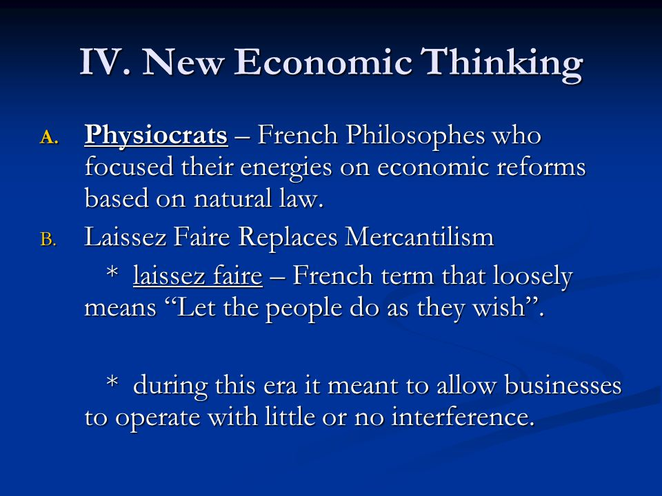 IV. New Economic Thinking