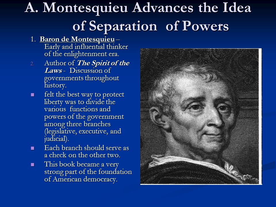A. Montesquieu Advances the Idea of Separation of Powers