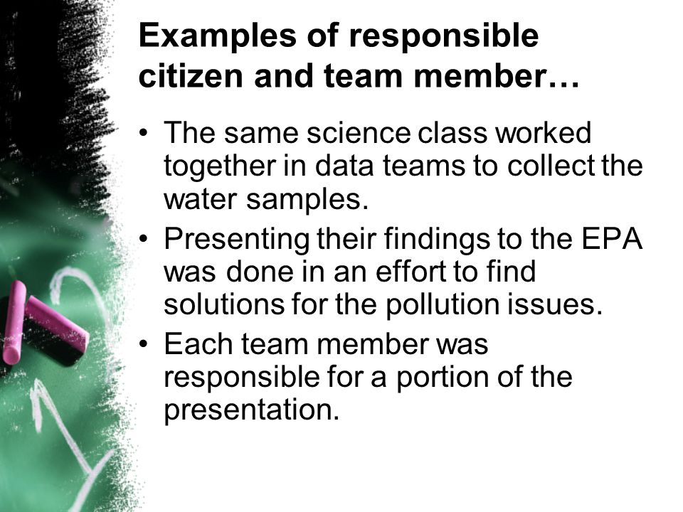 Examples of responsible citizen and team member…