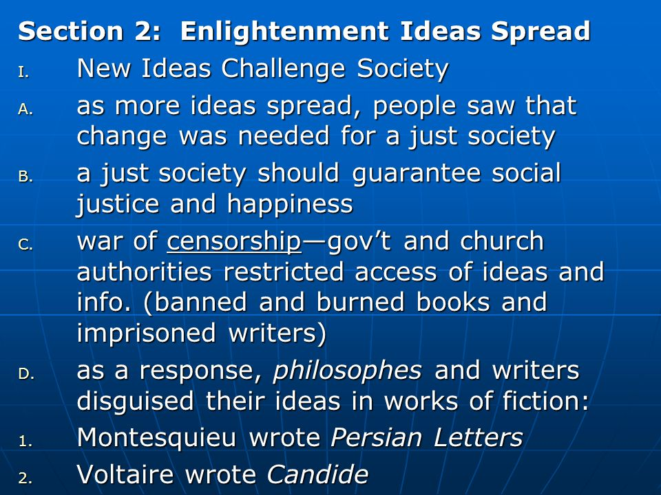 Section 2: Enlightenment Ideas Spread
