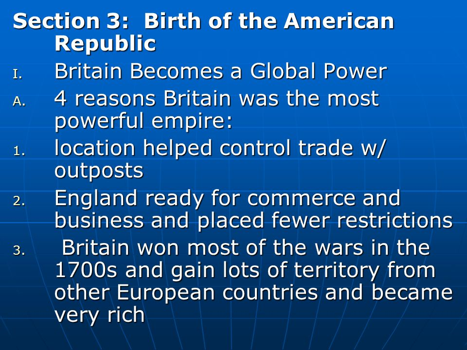 Section 3: Birth of the American Republic