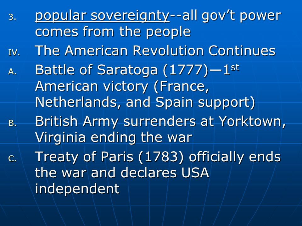 popular sovereignty--all gov't power comes from the people