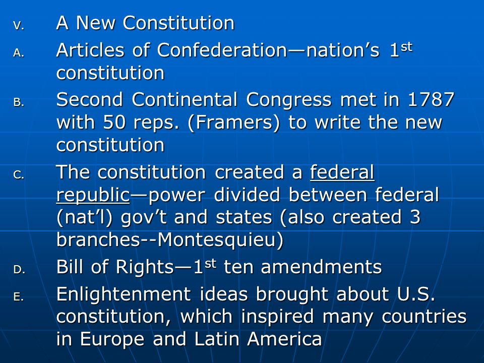 A New Constitution Articles of Confederation—nation's 1st constitution.