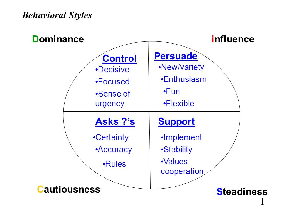 Behavioral Styles Dominance influence Persuade Control Asks 's
