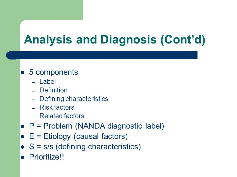 Analysis and Diagnosis (Cont'd)