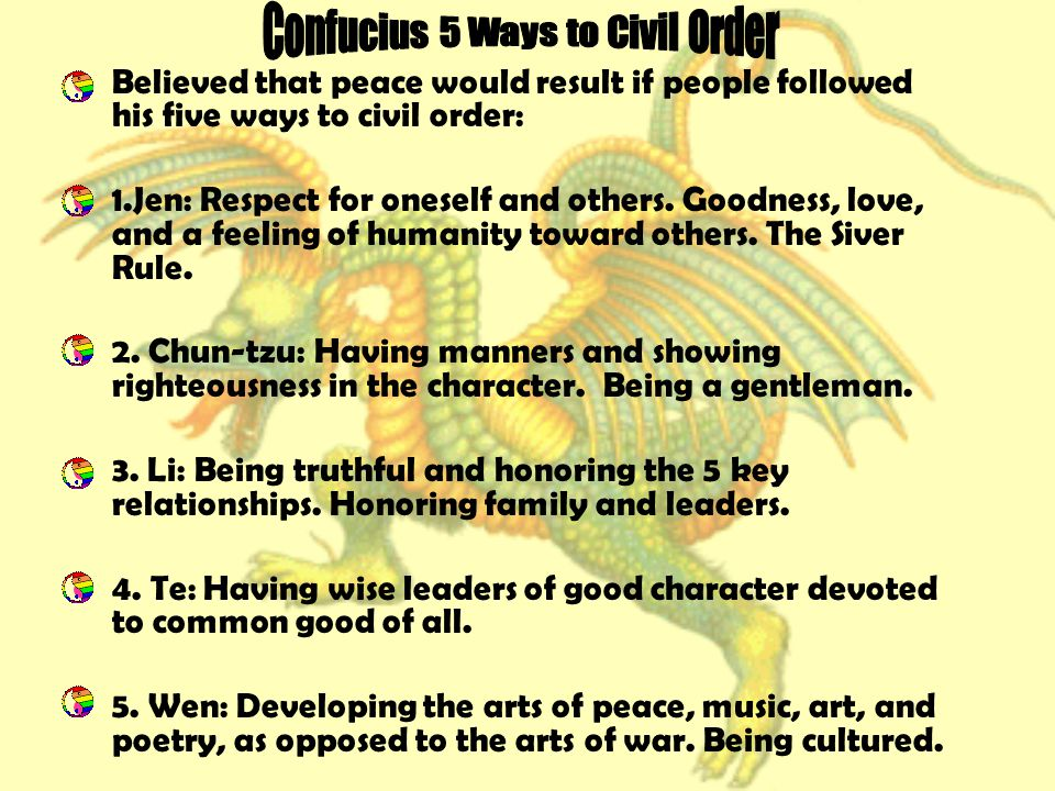 Confucius 5 Ways to Civil Order
