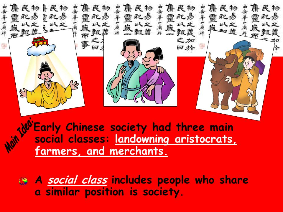 Early Chinese society had three main social classes: landowning aristocrats, farmers, and merchants.