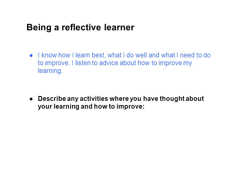 Being a reflective learner