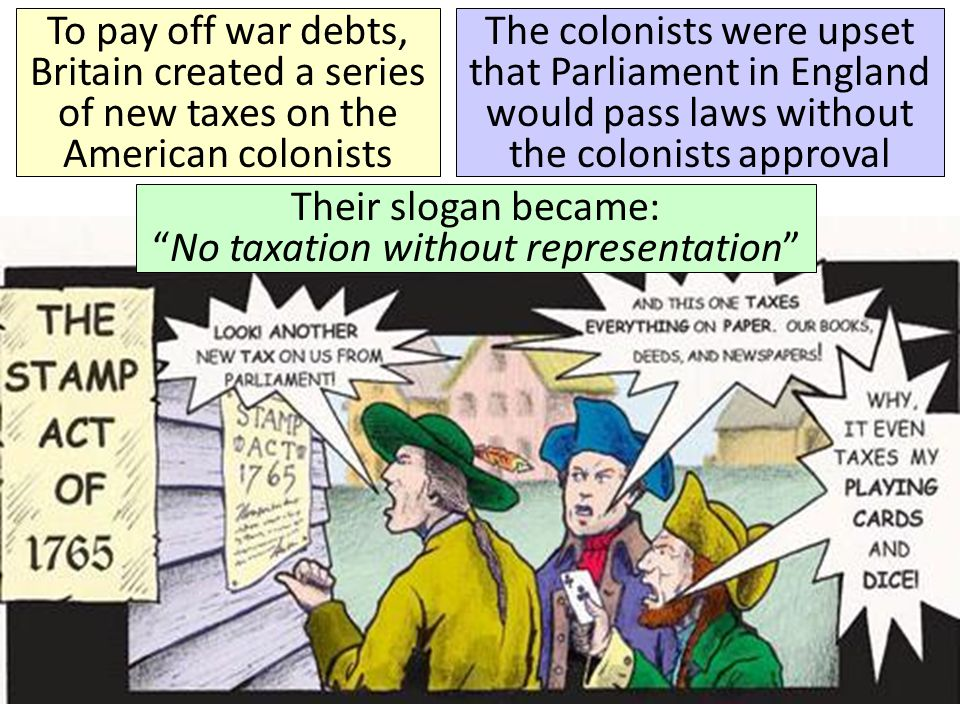 Their slogan became: No taxation without representation