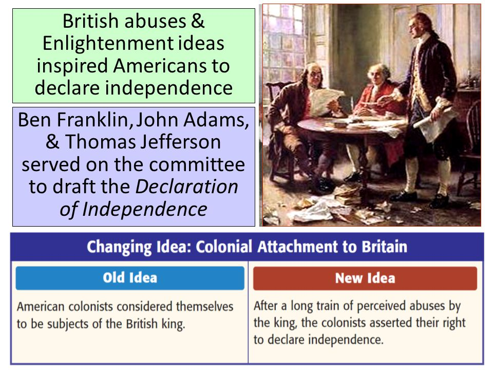 British abuses & Enlightenment ideas inspired Americans to declare independence