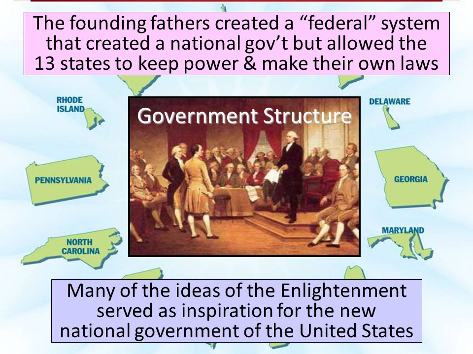 The founding fathers created a federal system that created a national gov't but allowed the 13 states to keep power & make their own laws